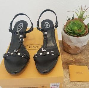 Tod's - Black Patent T-Strap Heels / Size: 7B